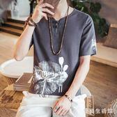 棉麻上衣2019夏季中國風t恤男裝中式短袖印花上衣 QX2795 『愛尚生活館』