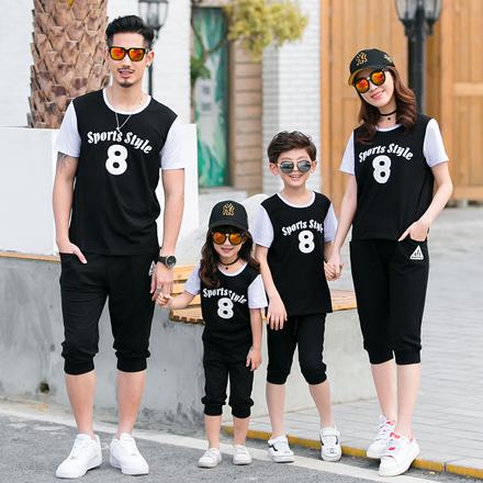 韓版運動字母8短袖上衣親子裝(小孩)