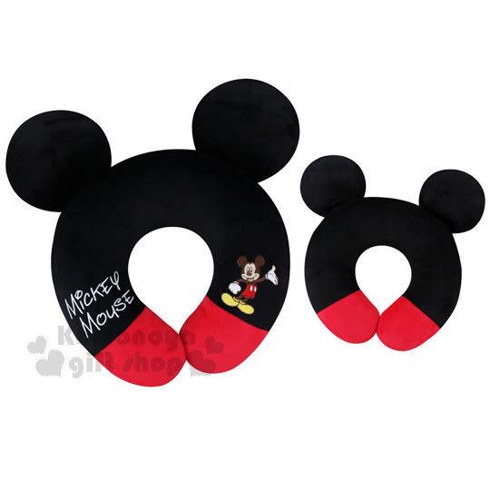 〔小禮堂〕迪士尼 米奇 絨毛造型頸枕《黑紅.U型》旅行.汽車室內兼用 4716873-52559
