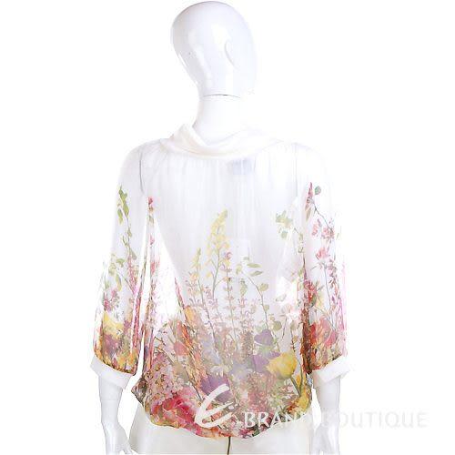 PAOLA FRANI 白色花朵彩繪雪紡七分袖上衣 1220036-20
