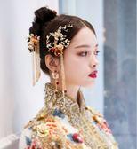 新娘秀禾服頭飾新款古裝中式婚禮鳳冠紅色流蘇結婚秀禾頭飾