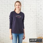 【JEEP】女裝 美式簡約格紋狐狸長袖TEE (深藍)