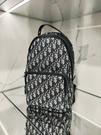 ■專櫃94折■ 全新真品■Dior 迪奧米色和黑色Oblique 緹花 斜背背包