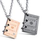 《 QBOX 》FASHION 飾品【C100N1090】精緻個性一對情侶故事書鈦鋼墬子項鍊