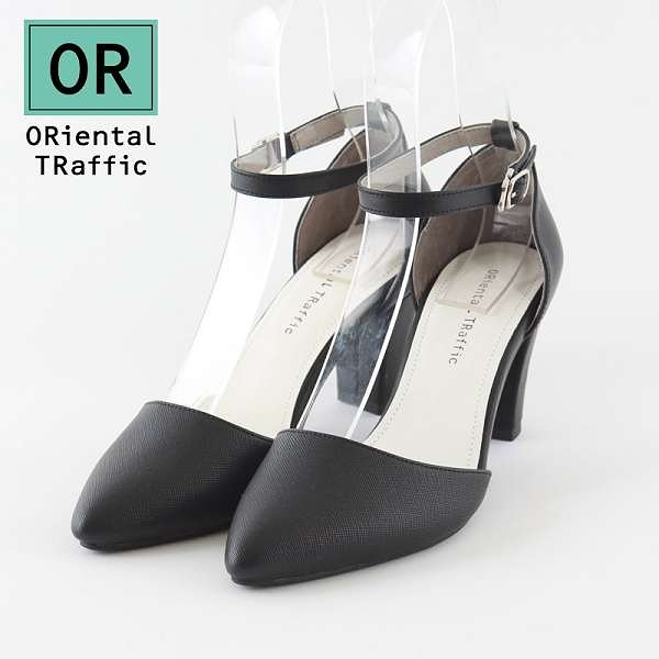 【ORiental TRaffic】時尚尖頭繞踝瑪麗珍鞋-經典黑