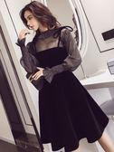 秋裝韓版氣質透視網紗上衣+修身顯瘦弔帶洋裝女兩件套可愛裙子  檸檬衣舍