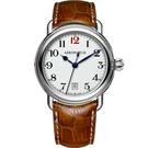 AEROWATCH 搪瓷復刻紳士時尚腕錶-白x棕/40mm A42900AA15