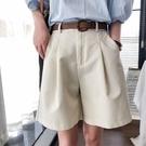 壓褶短褲直筒褲子配腰帶韓版【88-17-8110842-21】ibella 艾貝拉