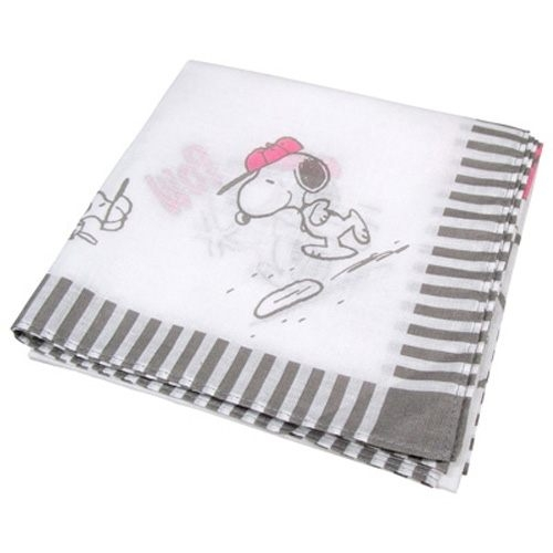 【震撼精品百貨】史奴比Peanuts Snoopy ~SNOOPY日本製純棉大方巾/手帕/餐巾(棒球好朋友白)#93240