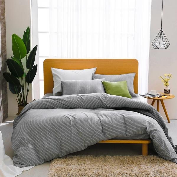 床包薄被套組 雙人加大 天竺棉  淺淺灰[鴻宇]M2618