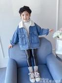 兒童牛仔外套女童加絨外套秋冬2020新款韓版洋氣童裝女孩冬裝兒童牛仔上衣加厚 新品