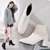 2018新款鞋瘦瘦靴英倫風百搭高跟網紅短靴粗跟春秋冬季短筒靴子女