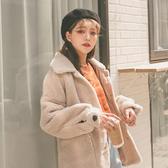 MUMU【C09084】羊羔毛厚磅泰迪熊排扣翻領短大衣外套