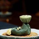 宜興紫砂茶寵純全手工茶玩青蛙蓮子茶壺蓋托家用擺件茶道配件精品 快速出貨