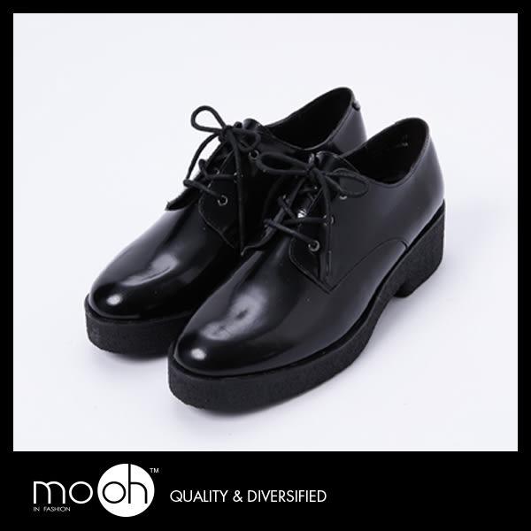 牛津鞋 厚底鞋 歐美真皮系帶時尚簡約中性皮鞋 mo.oh (歐美鞋款)