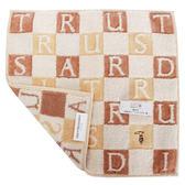 TRUSSARDI 立體字母雙色格棉質方巾(駝色)989045-311