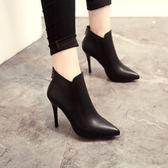 高跟鞋 新款性感高跟細跟女靴尖頭短靴後拉舒適馬丁靴女鞋單靴【快速出貨八折特惠】