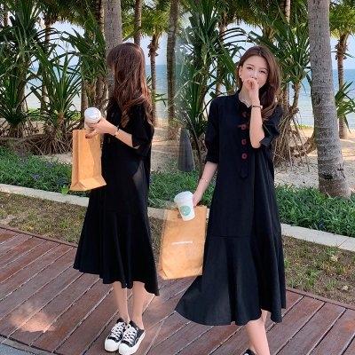 裙子 洋裝實拍M-4XL中大碼女裝黑色連衣裙 溫柔風長裙 收腰顯瘦氣質短袖裙子3F108.8066胖胖唯依