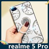 realme 5 Pro 時光玻璃保護套 電鍍鑲鑽 潮牌TIME 水鑽 指環支架 全包款 手機套 手機殼