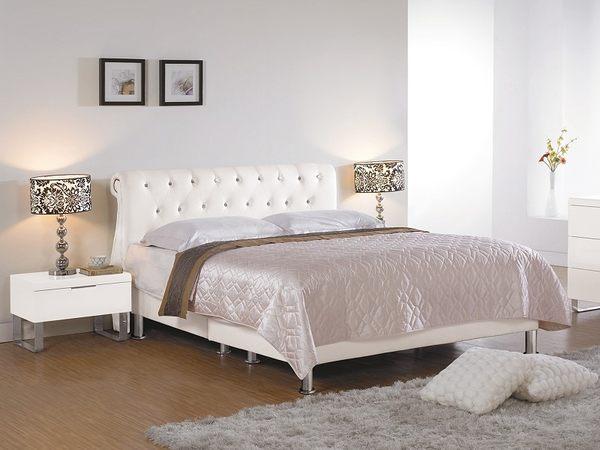 【森可家居】傑斯廷6尺雙人床(白色皮) 7CM155-6 雙人加大
