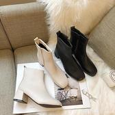 短靴 馬丁靴女英倫風2020新款百搭秋季黑色粗跟短靴韓版網紅街頭靴子女 俏girl