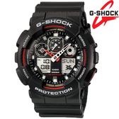 G-SHOCK GA-100-1A4 雙顯示 黑紅配色 黑色橡膠 55mm 男錶 GA-100-1A4DR CASIO卡西歐 飛行錶 日期 計時碼表