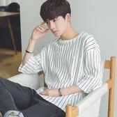 夏季日系條紋寬鬆韓版中袖半截袖五分袖學生短袖t恤潮流衣服男裝