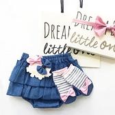 【日本製】日本製 禮品組 嬰兒 8ozDENIM 燈籠短褲 襪子 髮夾 藍色 x 粉紅色 SD-1321 -