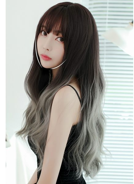 *╮Kinkee假髮╭*美到不行 韓系高仿真 自由分線 水波紋 空氣感 漸層 長髮 假髮 【C8233】