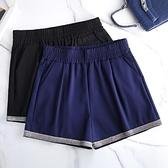 休閒短褲女短褲女高腰大碼松緊腰外穿a字黑色夏季寬松闊腿靴褲MA068依佳衣