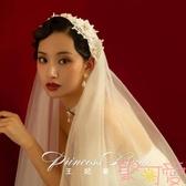 王妃新娘復刻自制款新娘寫真復古韓式簡約仙女頭紗【聚可愛】