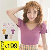 LULUS特價-Y-坑條V領合身上衣-5色  現+預【01020700】