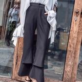 雙層喇叭褲-韓版時尚優雅俏麗女九分褲73qv15【巴黎精品】