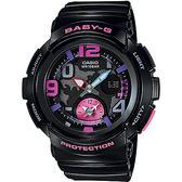 CASIO 卡西歐 Baby-G 旅行系列地圖手錶-黑 BGA-190-1B / BGA-190-1BDR
