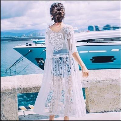 防曬衣女中長款蕾絲花邊鏤空開衫女夏季百搭泰國海邊度假外搭披肩TBF-10B快時尚