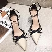 尖頭細跟高跟鞋女2021年新款夏天百搭涼鞋包頭配裙子的鞋仙女氣質 范思蓮恩