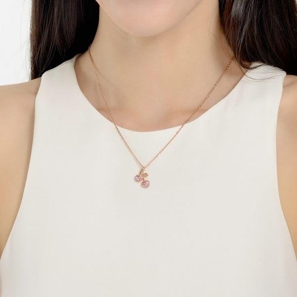 點睛品 輕甜櫻桃18K玫瑰金鑽石彩色寶石吊墜