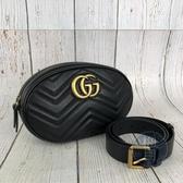BRAND楓月 GUCCI GG 古馳 491294 GG MARMONT 黑色 仿舊LOGO 山形紋 腰包 斜背包