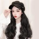 假髮帽子女秋冬時尚韓版潮海軍帽長卷髮一體百搭網紅大波浪全頭套 伊蘿