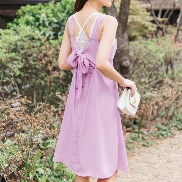 《DA5596-》婚禮系列~後鬆緊蝴蝶結綁帶純色長洋裝 OB嚴選