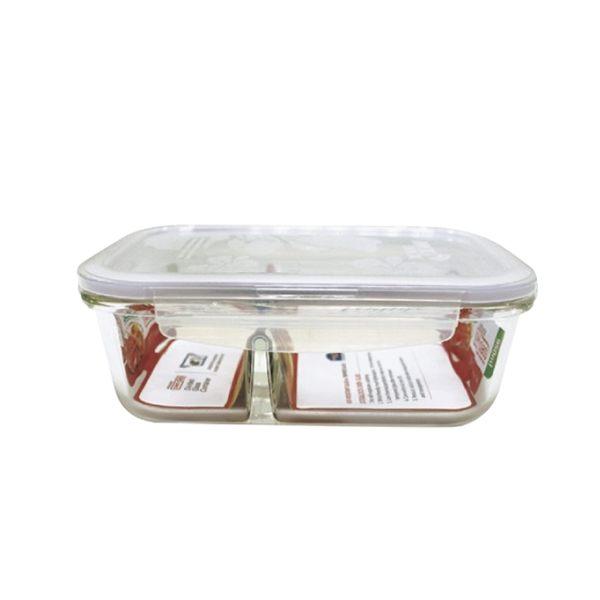 樂扣樂扣耐熱分隔玻璃保鮮盒長方形950ml便當盒LLG445D-大廚師百貨-