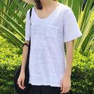 現貨-T恤-橫向竹節紋口袋V領上衣 Ki...