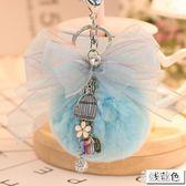 吊飾創意獺兔毛球鑰匙扣蝴蝶結絲帶包包掛件可愛毛絨鑰匙掛件 DN19160【彩虹之家】