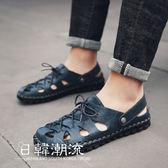 涼鞋  夏季涼鞋男潮流韓版真皮沙灘鞋男士休閑鞋防滑拖鞋男涼鞋兩用涼拖