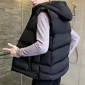新款秋冬季男士坎肩馬甲潮流加絨加厚連帽無袖外套羽絨棉馬夾 雙十二全館免運