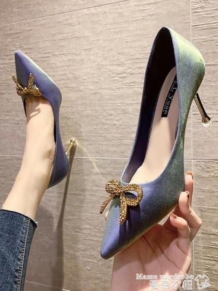 尖頭鞋 紅色綢緞高跟鞋女細跟2021年春季新款婚鞋水鉆蝴蝶結尖頭新娘單鞋 曼慕