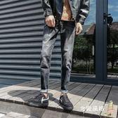 九分牛仔褲褲子男士牛仔褲修身直筒春季寬鬆正韓潮流黑色學生九分褲百搭全館滿千88折