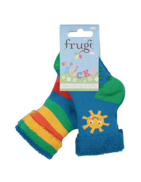 【英國Frugi】有機棉防滑保暖童襪2雙組 - 晴天彩虹系列 SOS601SMM