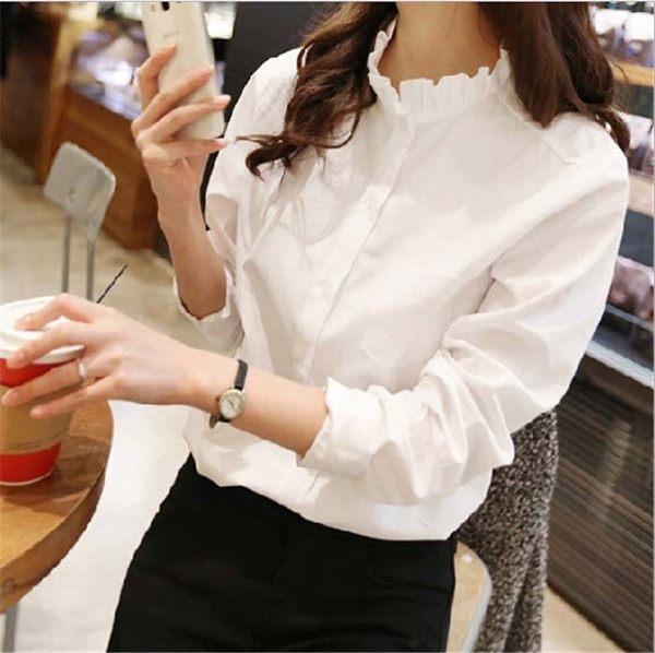 復古風 氣質 甜美 韓版  百搭 襯衫 荷葉領 純色 女 襯衫 上衣