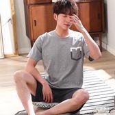 男士短袖睡衣 夏季短褲棉質男款加大碼薄款可外穿家居服套裝 BT4104『男神港灣』